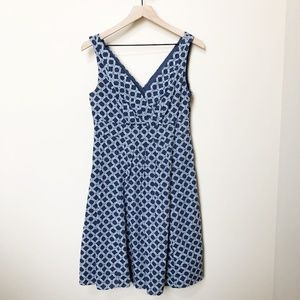 Land's End Geometric Print V-Neck Dress